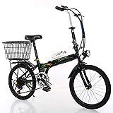 HAOT Bicicleta de velocidad variable plegable de 20 pulgadas Hombres y mujeres Rueda pequeña portátil ultraligera de 20 pulgadas Coche de estudiante adulto, negro (Color: Negro)