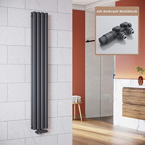 ELEGANT Vertikal Heizkörper Anthrazit 1600x236mm mit Multiblock Anthrazit Thermostat Design Heizkörper Doppellagig Röhrenheizkörper Badheizkörper Mittelanschluss