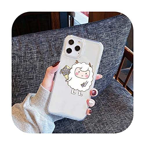 ovejas lindo dibujos animados teléfono caso transparente para el iPhone para Samsung A S 11 12 6 7 8 9 30 Pro X Max XR Plus lite-a7-iphone 12 mini