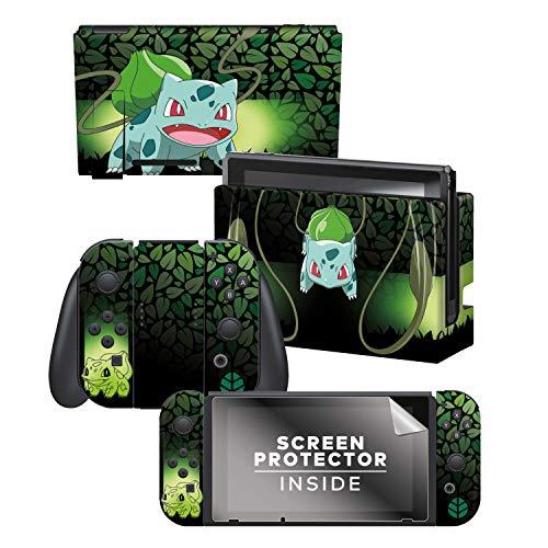 Controller Gear Officially Licensed Nintendo Pokémon Switch Skin & Screen Protector 'Bulbasaur Elemental Set 1'