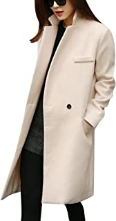 LaoZan damski zimowy wełniany mieszany trencz płaszcz vintage płaszcz długa kurtka