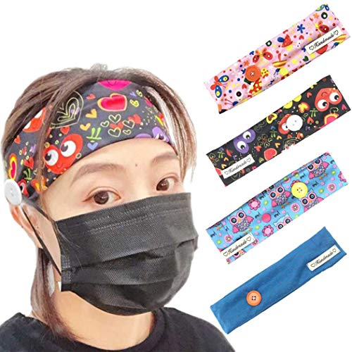 Brishow - Diademas con botón para enfermeras, bandas elásticas para el cabello, yoga, diademas antideslizantes, turbante para la cabeza, diseño de flores, accesorios para mujeres y niñas, 4 unidades