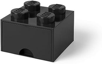 LEGO Brick Drawer, 4 Knobs, 1 Drawer, Stackable Storage Box, Black