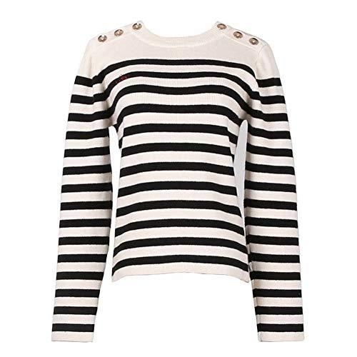 Thumby Dames Mode Strepen Kleur Blok Metalen Gesp ronde hals lange Mouw Coltrui Alle Match Knitwear Top, Wit, l