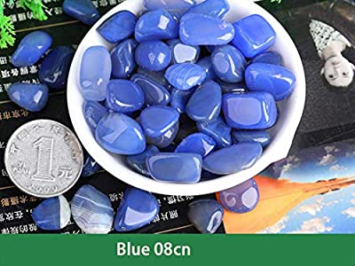 Peng Chun Technology Blue Crystal 920g, Natural Decorative Stone, Used for Flower Pot, Garden, Fish Tank, Aquarium Decoration, Weeding and Decorating. (Blue 0.8cm 2 pounds)