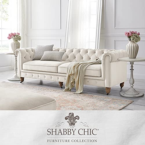 Shabby Chic Willington Traditional Chesterfield 3 Seat Button Tufted Velvet Sofa with Casters, Beige, 36 x 25 x 20