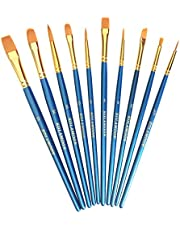 KOLAMOON 10本水彩筆 アクリル絵の具 油彩筆 絵筆セット 面相筆 丸筆 平型筆 画線筆 ナイロンの毛 画筆 アクリル筆