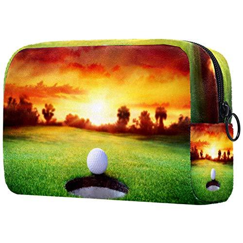 Bolsa de cosméticos Bolsa de Maquillaje para Mujer para Viajar Llevar cosméticos Cambiar Llaves, etc.,Sunset Golf Sport