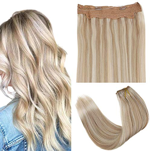 "LaaVoo 18"" Highlight Blonde Halo Hair Extensions Rremy Human Hair Ash Blonde Mixed Bleach Blonde Fish Line Hair Extensions Hidden Crown Halo Hair Width 10.5inch 80gram Per Pack"