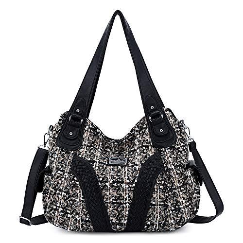 Angelkiss Damen-Handtasche mit Griff oben, Umhängetasche, Kuriertasche, gewaschenes Leder, (Schwarzes Portemonnaie), 13.8*4.7*11.8 inches