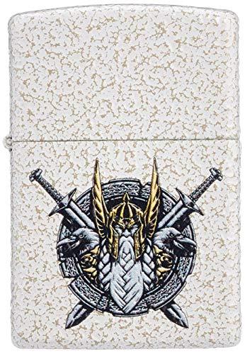Imagen del productoZippo Encendedor de Gasolina de Odin Design, Recargable, en Caja de Regalo, 60005577, Color Blanco y Dorado