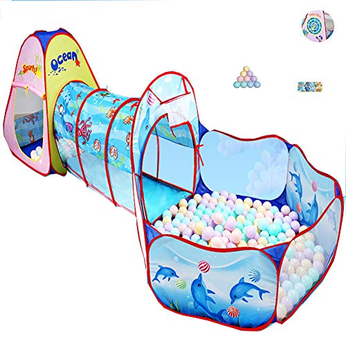 3sets van kinderen tent binnen of buiten tent spel tunnel ballenbad pop-up ontwerp kinderen spelen opvouwbare tent 107 * 33 * 45in | 10 * oceaanballen | 1 * mat | 1 * Speldoel,Ocean,107 * 33 * 45in