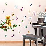 Diy Gato de Dibujos Animados cantando Pegatinas de Pared para Niños Habitación Guitarra Notas Musicales de Colores Mariposa Decoración para el hogar Nursery Pvc Tatuajes de Pared