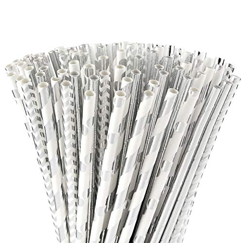 ALINK Biodegradable Silver Paper Straws Bulk, Pack of 100 Metallic Foil Striped/Wave/Dots Straws for Birthday, Wedding, Bridal/Baby Shower, Celebrations and Party Supplies