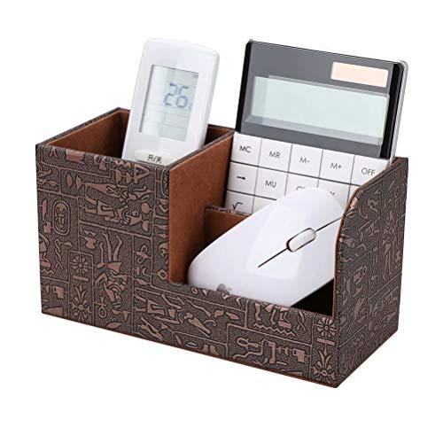 LILAN PUレザー 卓上収納ボックス 卓上収納ケース デスク収納ボックス 文具収納ボックス 鉛筆スタンド ペン立て おしゃれ(古代エジプト模様)
