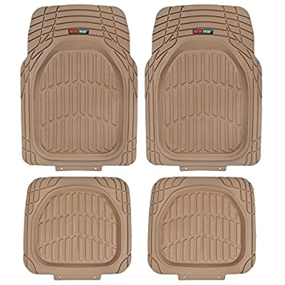 Motor Trend MT-921-BG Tan Beige FlexTough Tortoise-Heavy Duty Rubber Floor Mats for Car SUV Van & Truck-All Weather Protection-Deep Dish