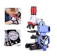 子供顕微鏡セット 初心者顕微鏡セット マイクロスコープ ミニ顕微鏡 LEDとミラー照明付き 初心者用 最高プレゼント 6歳以上小学生 中学生 高校生科学実験学習 おもちゃ 倍率切り替え可能 (100X、400X、1200Xの拡大倍率) (ブラック)