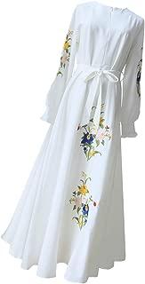 zhbotaolang Muslim Embroidered Dress Woman Long Sleeve Robe Female Elegant Gowns