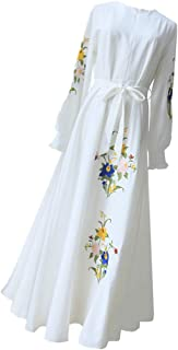 zhbotaolang Muslim Embroidered Dress Woman Long Sleeve Robe Female Elegant Gowns