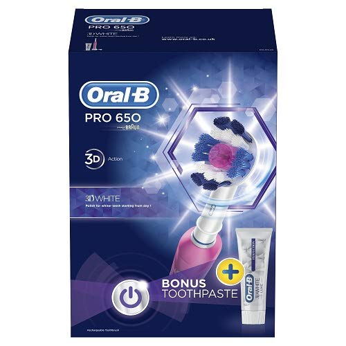Oral-B Pro 650 Pink 3D White Electric Rechargeable Toothbrush and Toothpaste by Oral-B