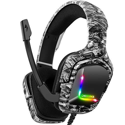 Gaming Headset for PS4 Headsets with Mic, Stereo Surround Sound With Noise Cancelling Mic with Mute & Volume Control, Lightweight Ergonomic Cool RGB Headphones for Xbox One, Switch, PC