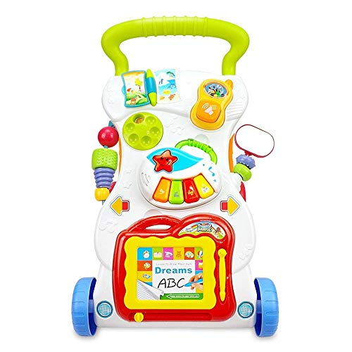 Btybess Intelligent Musique Walker Early Education bébé multifonctions réglable Vitesse chariot Walker Toy Avec des jouets Plateau apprentissage Walker for enfants en bas âge et les nourrissons Walker