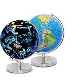 FHISD Globe Home Globo Giratorio Mapa del Mundo Educativo Gran Globo Giratorio de Mesa 20 cm LED Iluminado
