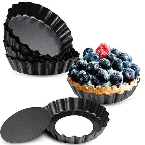 10 Pieces 4 Inch Mini Tart Pan with Removable Bottom, Nonstick Quiche Pan for Baking Pies, Quiche Cheese Cakes and Desserts (Black)