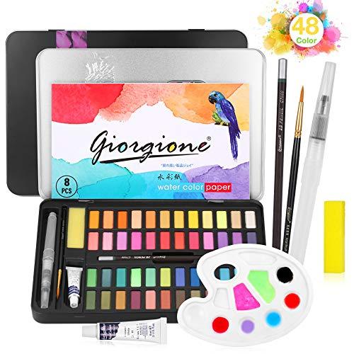 48 Watercolour Paint Set, Portable Watercolour Paint Box, Watercolour Box with Watercolour Paper, Water Tank Brush, Suitable for Beginners, Students and Children (Aquarellfarben)