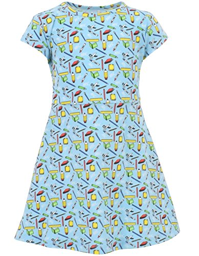 Unique Baby Girls Back to School Dress (5, Blue)