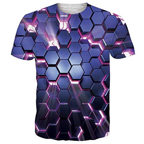 NEWISTAR Unisex Jugend 3D Druck Grafik Casual Kurzarm T-Shirt , Wein, M