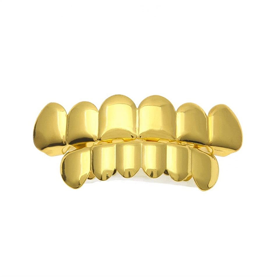 ?? Dental Braces, 1 Set Men Women Gold Plated Hip Hop Teeth Grillz Top Bottom Grill Teeth Grills by Little Story