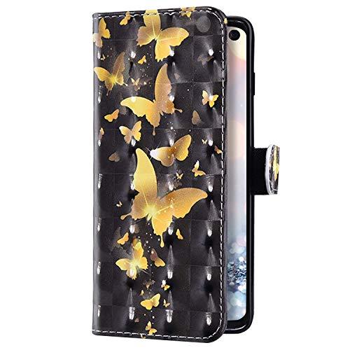 Uposao Kompatibel mit Samsung Galaxy A41 Hülle Leder Handyhülle 3D Bling Glitzer Glänzend Klapphülle Schutzhülle Leder Hülle Flip Bookstyle Case Kartenfächer Magnet,Gold Schmetterling