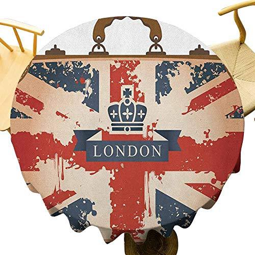 VICWOWONE Union Jack mantel – 150 pulgadas multicolor mesa redonda maleta de viaje vintage con bandera británica Londres cinta y corona imagen no se desvanecerá azul oscuro, rojo y marrón