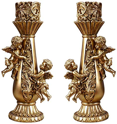 XHCP Indoor Outdoor Cherubs Candle Holder,Child Angel Cupid Table Figure Decor, Candlestick for Wedding Festival Birthday Party Golden 2-Piece