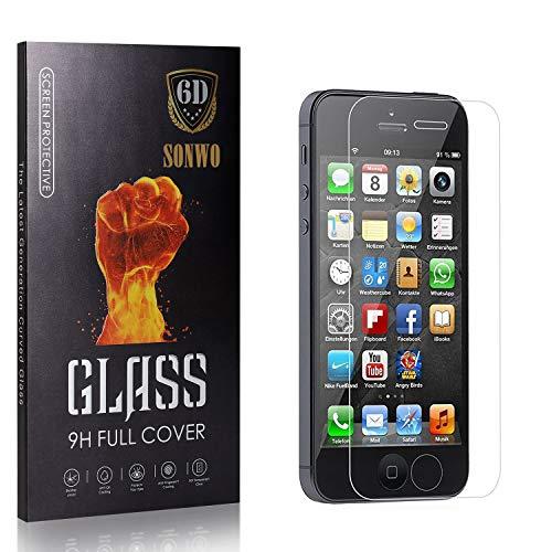 SONWO Schutzfolie Panzerglas Kompatibel mit iPhone SE/iPhone 5S / iPhone 5 / iPhone 5C, HD Ultra-Klar Schirm Displayschutzfolie, 9H Härte Panzerglasfoli, 4 Stück
