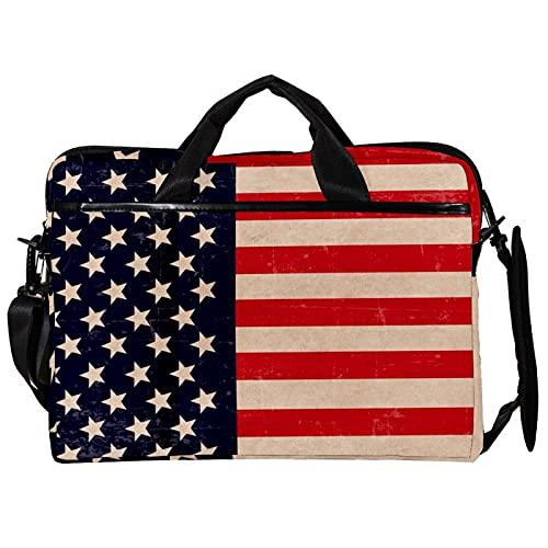 Bolsa de lona para portátil de 15 pulgadas, diseño retro, con bandera patriótica, impermeable, para MacBook Pro/Air Dell Xps HP Ultrabook Chromebook Tablet PC
