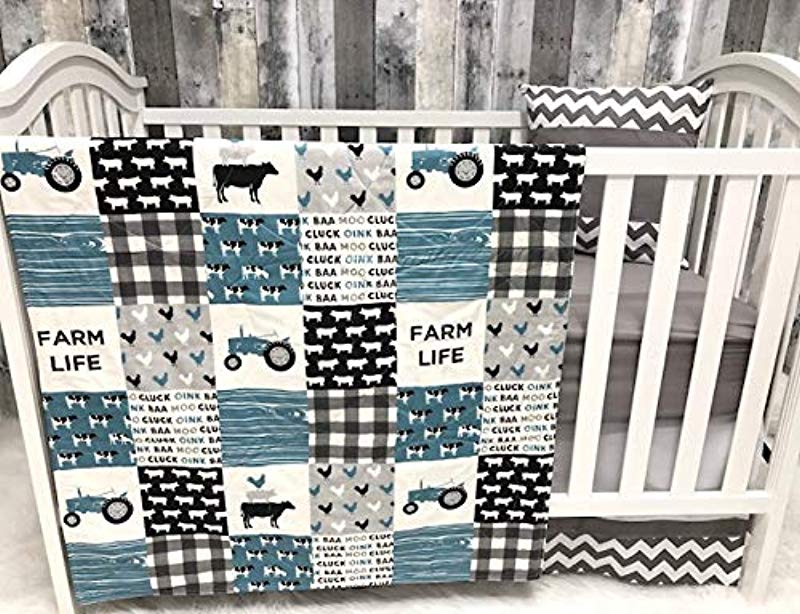 Baby Nursery Bedding Baby Farm LIfe Cow Chickens Cowboy Farmer Tractor Baby Bedding Crib Bedding Babylooms