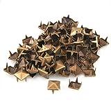 SODIAL(R) 100X Apliques Remaches Bronce 12mm Piramide Tachuelas Bolsa/Calzado/Guante
