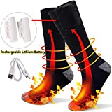 JINGOU Heated Socks, 3.7 V Electric USB Rechargeable Battery Boot Socks with 3 Speed Temperature Control Warm Winter Fast Heating Thermal Socks for Women Men Sports Outdoor Camping Hiking