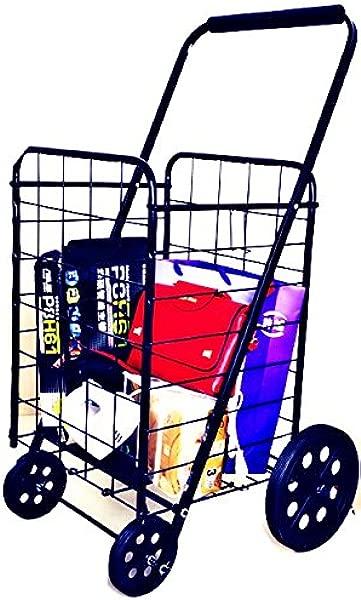 Folding Shopping Cart Heavy Duty Metal Body 1 Year Warranty Black National Standard Products