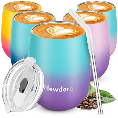 Newdora Wiederverwendbarer Reisebecher, doppelwandig, Vakuum-Isolierbecher mit auslaufsicherem Deckel für Kaffee, Tee, Cocktail, Milch und Tee, 360 ml (Blau Lila)