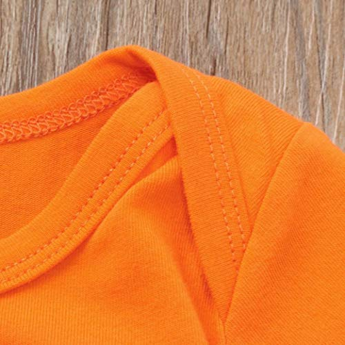 uBabamama My First Halloween 3PCS Letter Print Long Sleeves Romper Jumpsuit+Pumpkin Stripe Pants Hats Newborn Baby Set Clothes(Orange,3-6M)