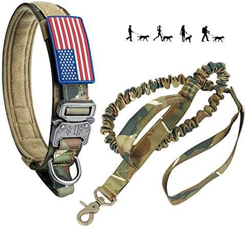 Tactical Dog Collar and Bungee Leash Camo Military Dog Collar Leash Set with USA American Flag product image