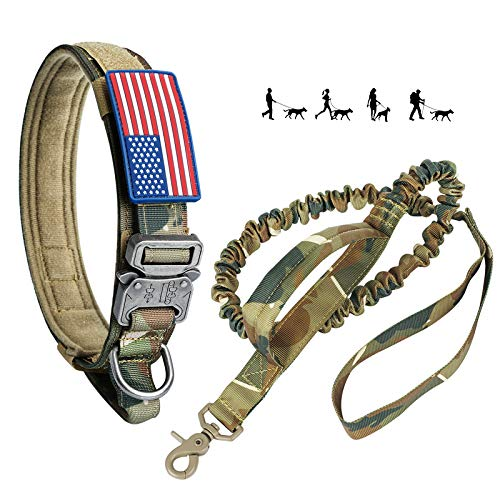 Tactical Dog Collar and Bungee Leash, Camo Military Dog Collar & Leash Set with USA American Flag Adjustable K9 Collar with Heavy Duty Metal Buckle & Handle for Training Medium Large Dogs(L, Camo)