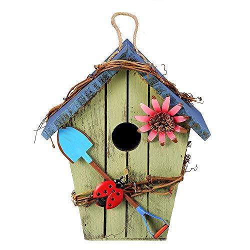 Bird House De Madera Cabaña De Troncos Accesorios Decorativos Al Aire Libre Estilo Pastoral Artesanía Rústico Colgante Pintado Jardín Regalo