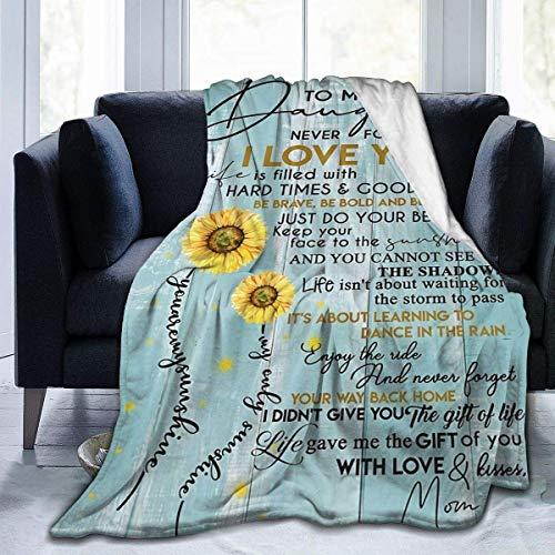 Sunflower to my Daughter Never Forget That I Love You, manta para sofá cama, sofá súper suave, ligera, para viajes, camping, para todas las estaciones para adolescentes de 60 x 50 pulgadas
