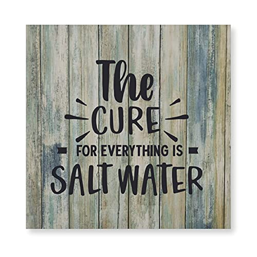 Canvas Painting Wall Art Canvas Poster The Cure for Everything Is Salt Water Wall Decor Rustic Farmhouse Style Canvas Artwork for Dining, Home, Bar, Coffee Shop Decoration, Gift Poster 15.8x15.8 inch