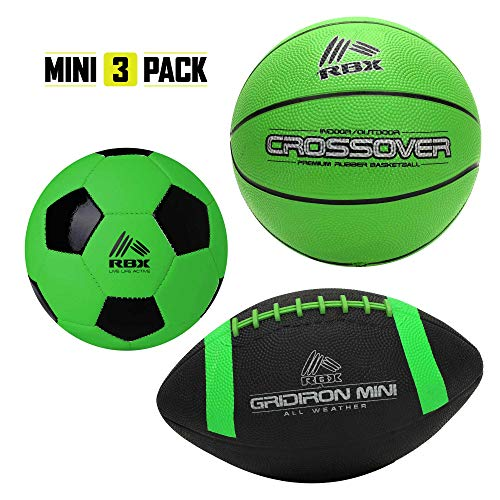 RBX 3-1 Mini Sports Balls Set for Kids: Youth Size Mini Soccer Ball, Basketball, and Football Bundle Kit- Multi Sport Gift Collection for Children- Made for Indoors and Outdoors (Classic Series)