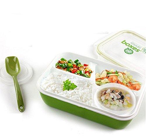 Porta Pranzo Bento lunchbox Ermetico per Microonde Contenitori Alimentari contenitore sicuro - 4in1 - 3 scomparti 1 tazza 1 cucchiaio (Verde)